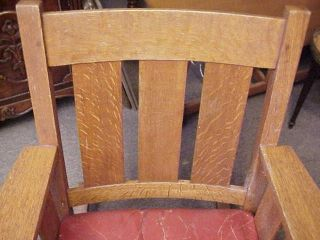Antique Arts Crafts Signed Lifetime Mission Tiger Oak Rocker Chair Limbert Era