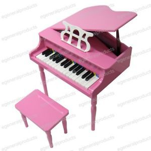 New Pink Kids Childs Wood Toy Grand Piano w Bench Toy