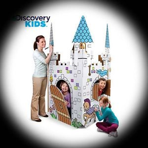 Discovery Kids Cardboard Color Me Play Castle Princess Toy House Childrens Doll