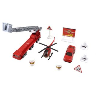 Kids Plastic Fuel Barrel Roadblocks Fire Engine Truck Toy Kit 10 in 1