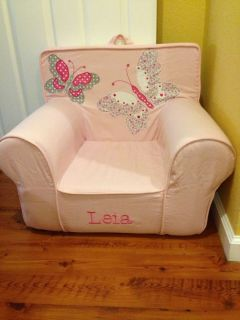 "Pottery Barn Kids Anywhere Chair Slipcover Only ""Leia"" Pink Butterflies Applique"