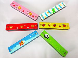 Wooden Harmonica Kids Musical Instrument Educational Craft Toy Fully Functional