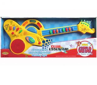 Battery Operated Kids Children Musical Light Animal Guitar Red Yellow Toy