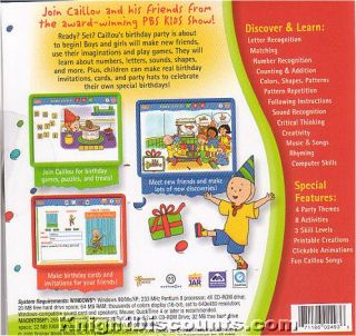Caillou Party Fun Games PBS Kids PC Mac CD Ages 2 6