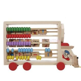 Cute Educational Preschool Kids Wood Toy Alphabet Numeral Learning Car w Clock