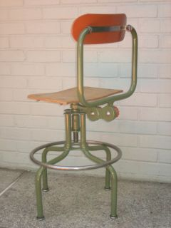 Vintage Drafting Stool Sturgis Industrial Machine Age Steel Steampunk 40's Chair