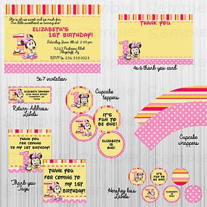 Complete Baby Minnie Mouse 1st Birthday Party Package Printable Girl Baby Shower