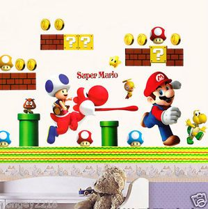 Large Super Mario Bro Toy Removabale Nursery Wall Stickers Decal Kids Vinyl
