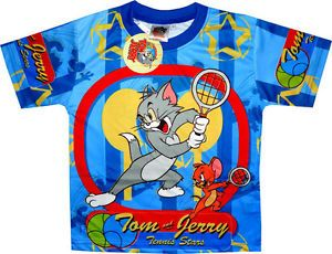 Tom and Jerry Tennis T Shirt Boys Girls Childrens Shirts Kids Clothes Toys Tee