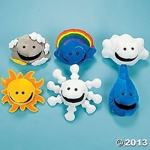 6 Weather Hand Puppets Plush Velour Pretend Play Preschool Educational Toys Kids