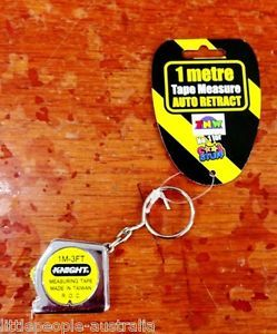One Metre Tape Measure Keychain Auto Retract Tools Pretend Play Kids Toys New