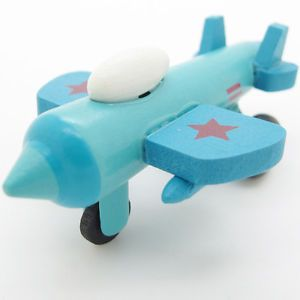 New Blue White Hand Made Wooden Wood Mini Airplane Fighter Baby Kids Toys