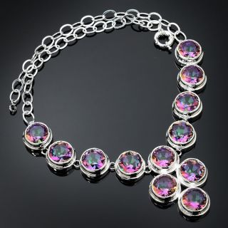 Rainbow Color Topaz Gemstone Pendant 925 Silver Sterling Necklace Jewelry 19""
