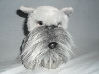 "11"" Plush Russ Berrie Grey The Schnauzer Stuffed Realistic Look Puppy Dog"