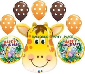 Jungle Safari Happy Birthday Party Supplies Giraffe Elephant Zebra Tiger Balloon