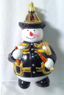 Kurt Adler Christmas Glass Snowman Fireman Ornament