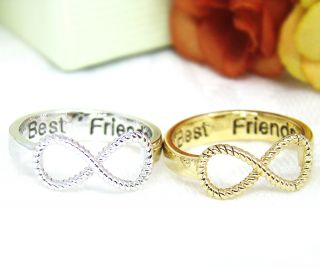 Best Friends Ring Women's Infinity Ring Engraved Ring Jewelry Gold Silver Plated