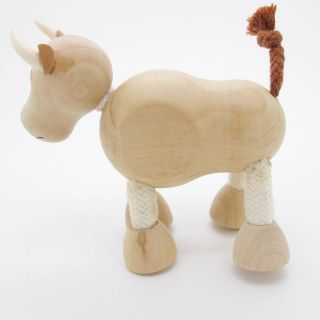 3D Portable Wooden  Animals Wood Figures Baby Kids Toys Cow