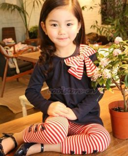 Kids Girls Korean Bowknot Tops Striped Boetie Pants Outfit Set Dress 2 7Y S52