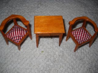 Miniature Wood Doll House Furniture Corner Chairs End Table