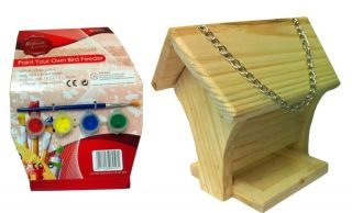 New 4 x Garden Wild Bird Feeder Kids Art Paint Your Own Wooden Hanging Table