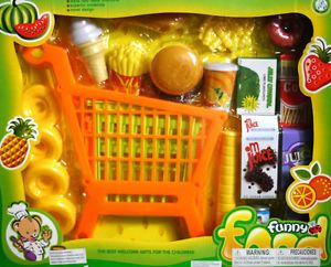 17 PC ♥ Pretend Play Fast Food Shopping Cart Kids Toy Supermarket Burger Fries