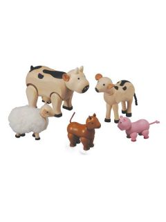 Plan Toys Wooden 5 Piece Farm Animal Play Set Childrens Toddlers Toy 3 Yrs