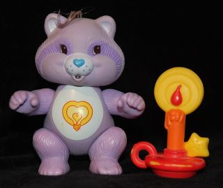Bright Heart Raccoon 1985 Care Bear Poseable Figure Complete Accessory Kenner