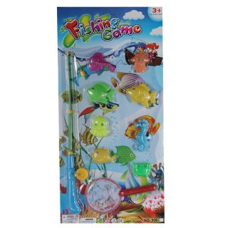 10in1 Kids Stuff Magnetic Fishing Game with 9 Colorful Fish and Rod and Reel