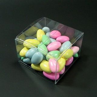 "Clear Wedding Favor Candy Cookie Treat Gift Box 3x3x2"" 50 Pcs"