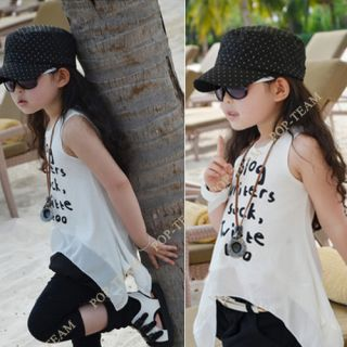 Girls Kids Toddlers Letters Chiffon Sleeveless Top T Shirt for Trip 1 2T TYF3 1