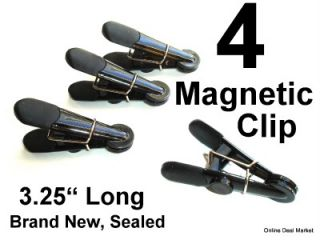 1 PK of 4 PC Black Magnetic Spring Clip Fridge Refrigerator Office File Cabinet