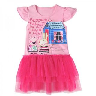 Sz 1 6 Peppa Pig Girls Short Sleeve Party Top Dress Pink Ruffle Tutu Skirt