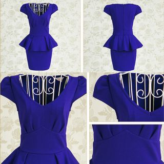 Womens V Neck Bodycon Pencil Shift Peplum Dress Cocktail Party Mini Dresses Blue