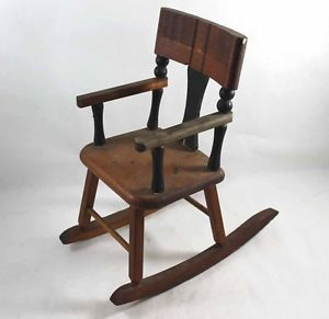 Old Miniature Wooden Rocking Chair Baby Doll Toy Small Stands Over 1 Foot Tall