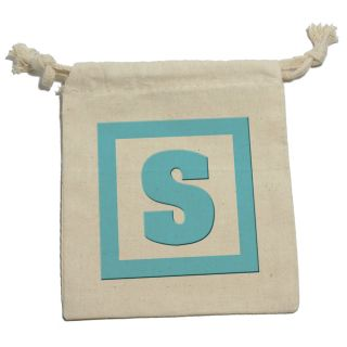 Letter s Initial Baby Boy Block Blue Shower Cotton Gift Party Favor Bags