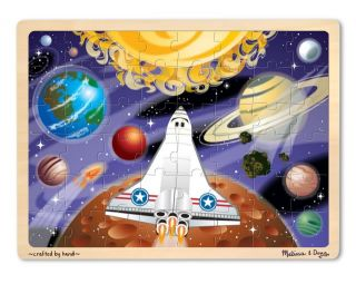 Kids Wooden Jigsaw Puzzles New Melissa Doug Outerspace Rocket Planets 48 Piece