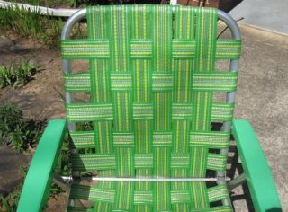 Vintage Aluminum Folding Webbed Lawn Chair Green Yellow Patio Deck Beach