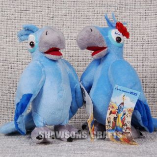 "Rio Plush Stuffed Toy Birds 8 5"" Blu Jewel Macaw Set"