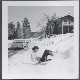 Car Photo Pretty Girl Sledding in Snow 1963 Ford Falcon Station Wagon 937620