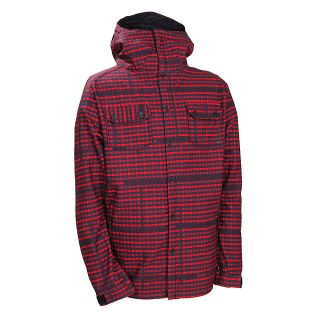 686 Plexus Clash Mens Snowboard Mens Soft Shell Jacket Large Red Plaid Print