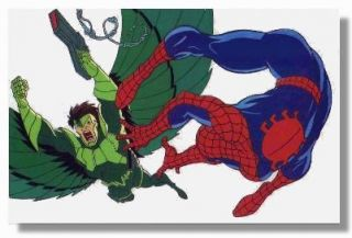 Spider Man 1990's Marvel Comics Animated TV Series Show Promo Cartoon Cel Cell 1