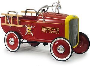 1932 Red Fire Engine Ford Retro Pedal Car Truck Kids Ride on Toy New