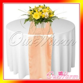 1 Peach Satin Table Runners Wedding Party Professional Supply Decoration Colors