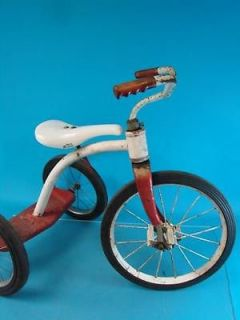 "Vtg 1950's 16"" Front Tire Kids Tricycle Trike Bike Ride on Pedal Toy Red White"