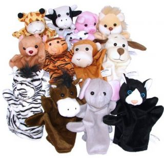 1 Dozen Velour Animal Hand Puppets Kids Toy Preschool Kindergarten New