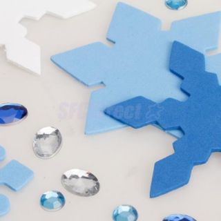 Kids Craft DIY 3pcs Christmas Snowflake Fridge Magnet Sticker w Acrylic Diamond