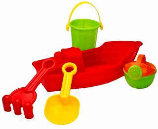 5 Piece Water Boat Bucket Spade Beach Seaside Sand Pit Play Kids Seaside Toy Set