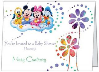 Minnie Mickey Mouse Donald Babies Baby Boy Girl Shower Birthday Invitations USA