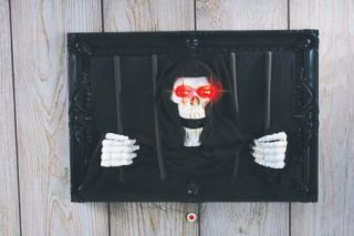 Animated Pop Out Reaper Jail Halloween Prop Lights New